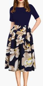 oxiuly Women's Vintage Floral Flare Patchwork Pockets Puffy Swing Casual Party Swing Dress OX165