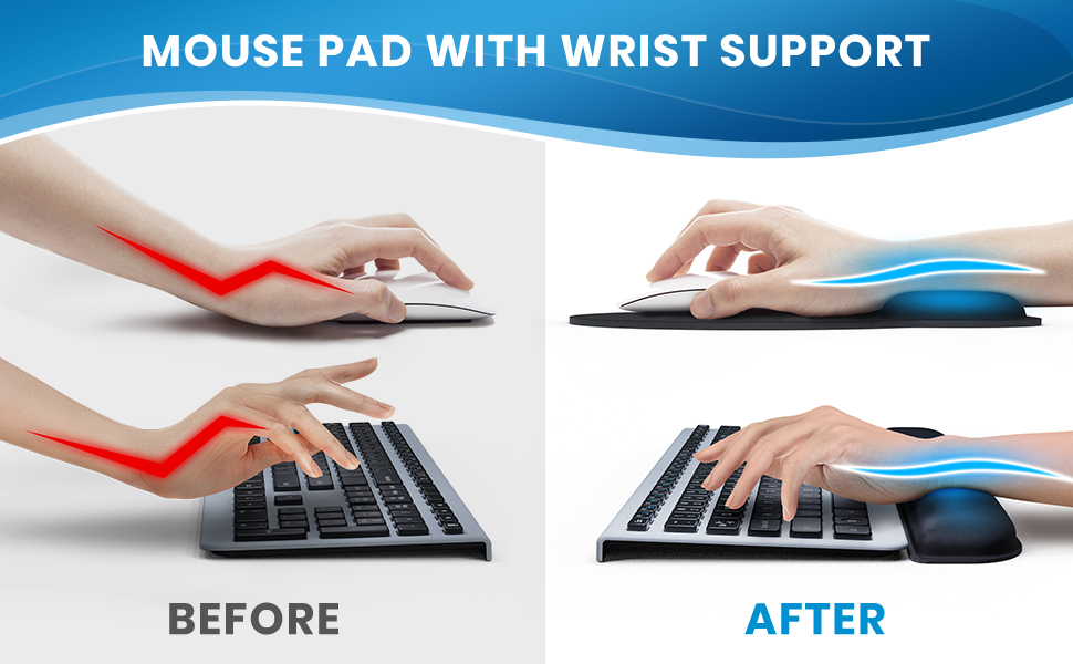 Hands and wrists in the improper vs proper positions before and after the use of our wrist rests