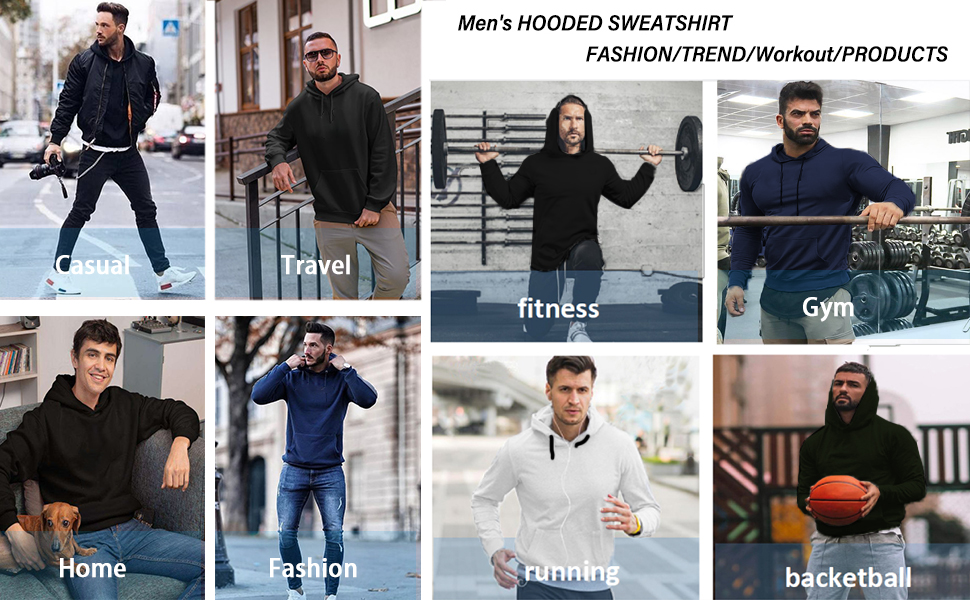 Babioboa Mens Gym Workout Hoodies Athletic Bodybuilding Muscle Lightweight Hooded Sweatshirts
