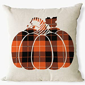 pumpkin buffalo plaid check pillow covers 18x 18