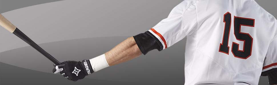 Baseball player wearing a palmgard glove