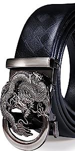 dragon belt buckle black leather silver ratchet fashion automatic