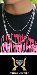 TRIPOD JEWELRY Mens Womens Iced Out Cuban Link Chain