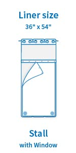 36amp;#34; x 54amp;#34; Fabric Snap in Liner for Stall Shower Curtain 36amp;#34; x 74amp;#34;