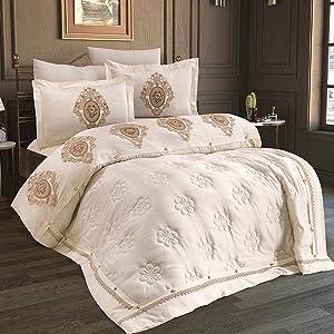 Besticktes Quilt- und Bettwäsche-Set