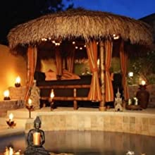 A thatched gazebo next to the pool at night