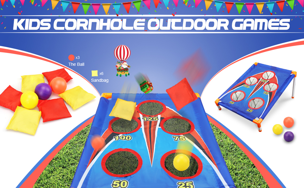 TOY Life Kids Cornhole Outdoor Games - Bean Bag Toss Game for Kids