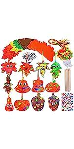Fall Magic Color Scratch Maple Leaf Pumpkin Acorn Ornaments Craft Kit