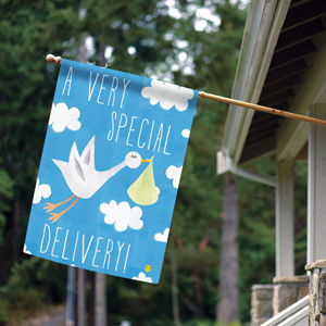 House flag with its a boy stork delivery design