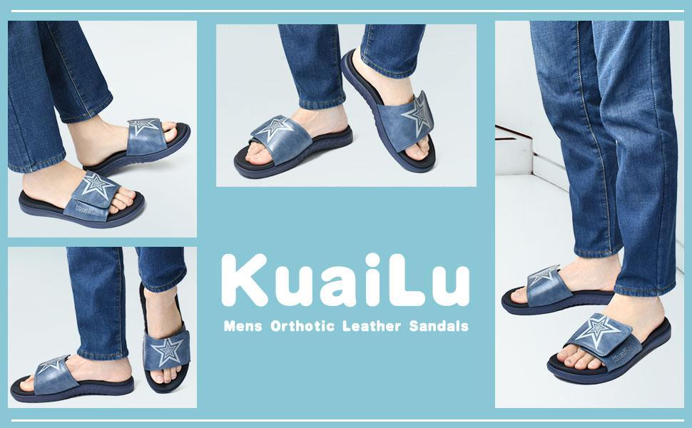 KUAILU mens orthotic leather sandals