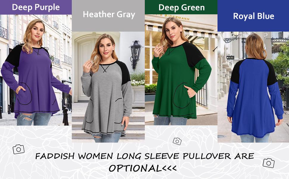 8102 Casual Lightweight Sweatshirts Raglan Shirt For Plus Size Women