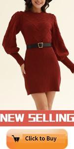 Women Knit Bodycon Sweater Dress