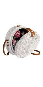 White Round Rattn Bag