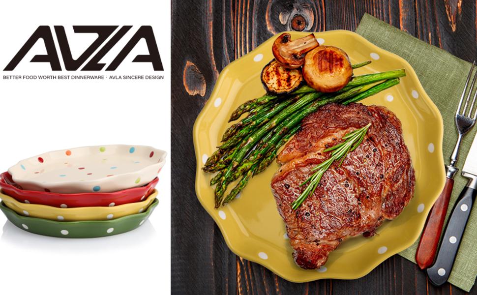 AVLA 4 Pack Porcelain Dessert Salad Plates, 7.6 Inch Ceramic Flat Plate for Pasta, Buffet, Dinner