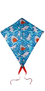 Blue Diamond Kite with image of sharks in the water