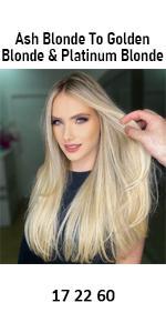 human hair extension ash blonde to golden blonde with platinum blonde 17 22 60