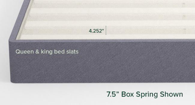 Upholstered box spring bed slats