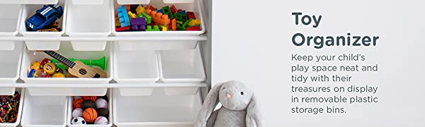Keep your child's play space neat and tidy with their treasures on display in removable bins
