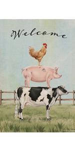 Hzppyz Welcome Summer Chicken Pig Cow Garden Flag