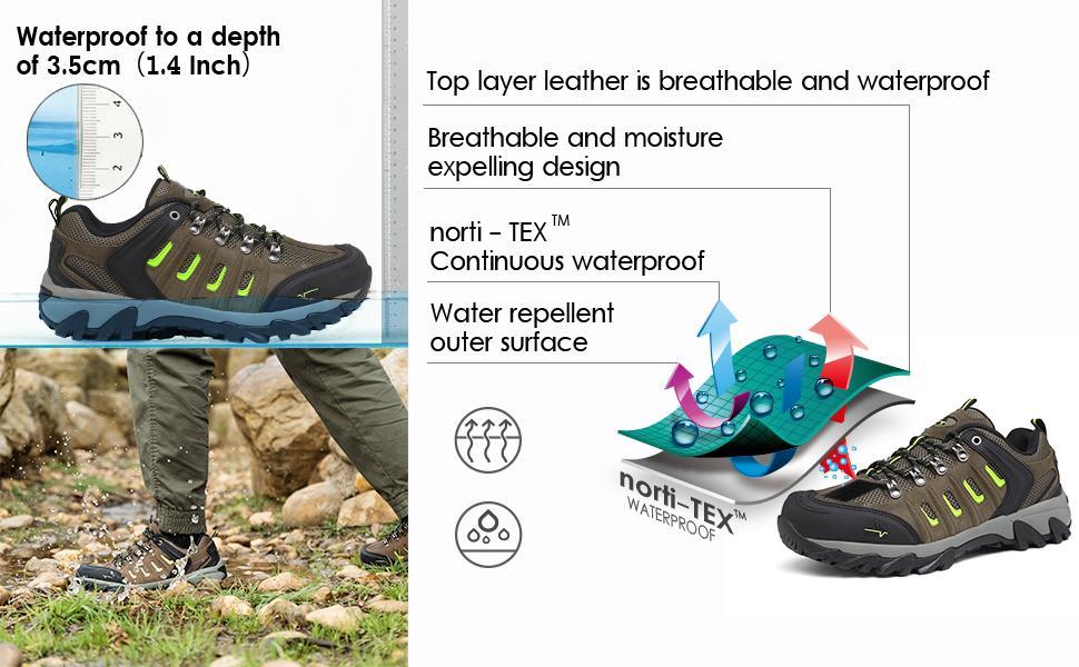 Men's Waterproof Hiking Shoes Low Top Lightweight Outdoor Trekking Camping Trail Hiking Shoes