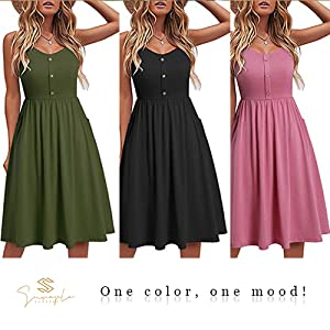 Sureple Sundress for Women Casual Summer with Pockets Beach Spaghetti Strap Dresses