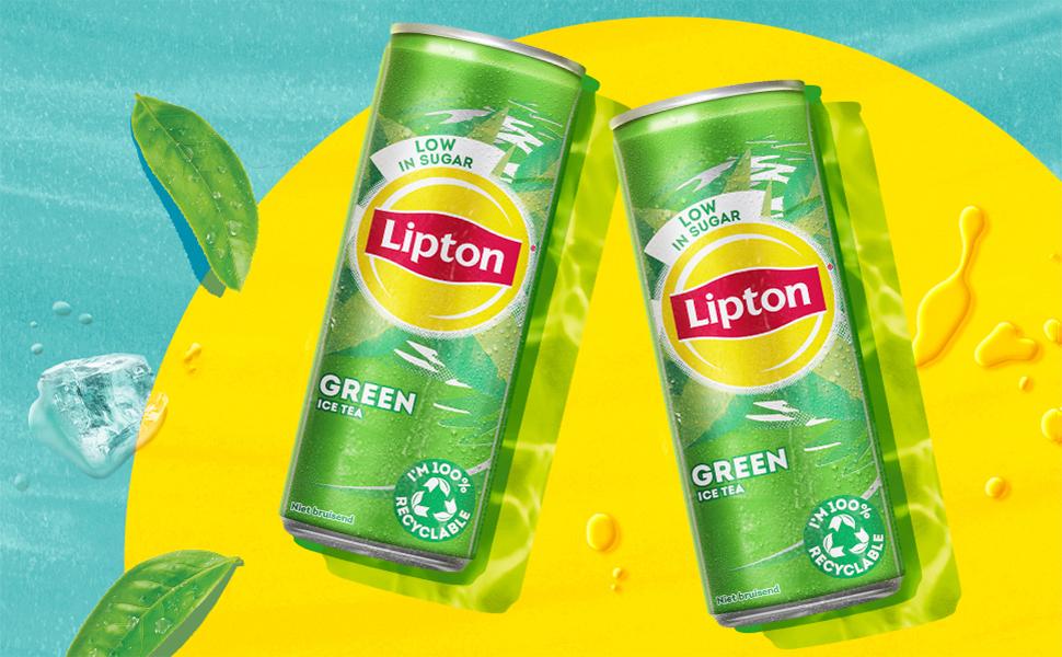 Het zon logo van Lipton Ice Tea, met een groene ijsthee flesje