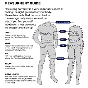 Measurement guide, upf clothing