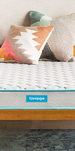 6 inch spring mattress grey with blue piping