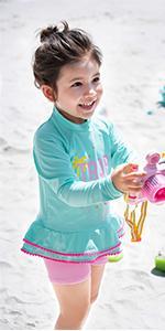 Julysand Toddler Girls Two-Piece Swimsuit Flamingo Rash Guard Swimwear Long Sleeve Beachwear