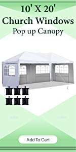 10x20 pop up canopy tent with sidewalls