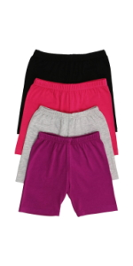 girls pack of four cotton blend shorts
