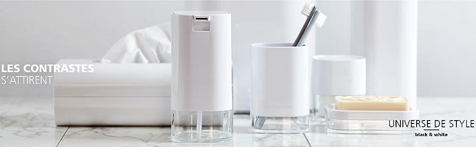 Accessoires de salle de bain de WENKO - design sans époque en blanc brillant et noir élégant