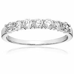 Vir Jewels 3/4 cttw Diamond Wedding Band in 14K White Gold 7 Stones Prong Set