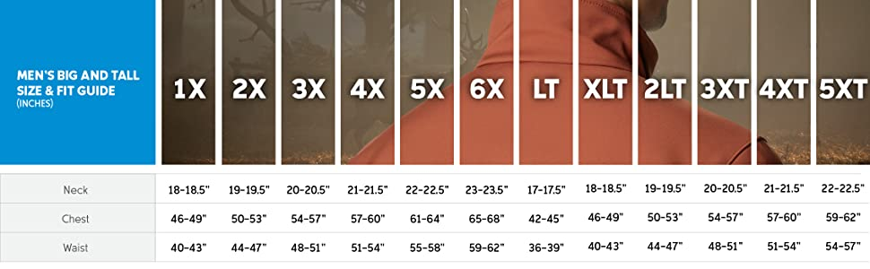 Mens jacket big and tall size and fit guide