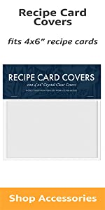 Plastic recipe card covers fits 4 by 6 inch cards