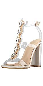 rhinestone heels chunky clear heels