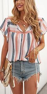 NEYOUQE Women Summer Short Sleeve Sexy Lightweight V-neck Drawstring Vertical Stripe Shirt Top.
