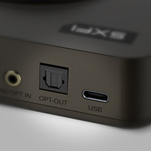 usb-c and optical-out ports on sound blaster x4