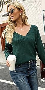 Deep v neck sweater plus size
