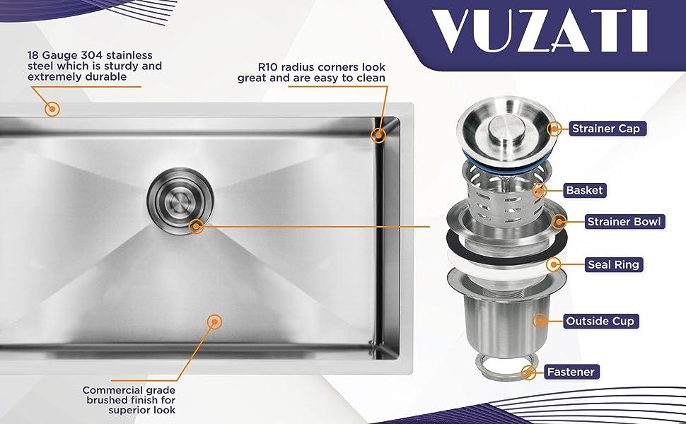 Vuzati sink showing features