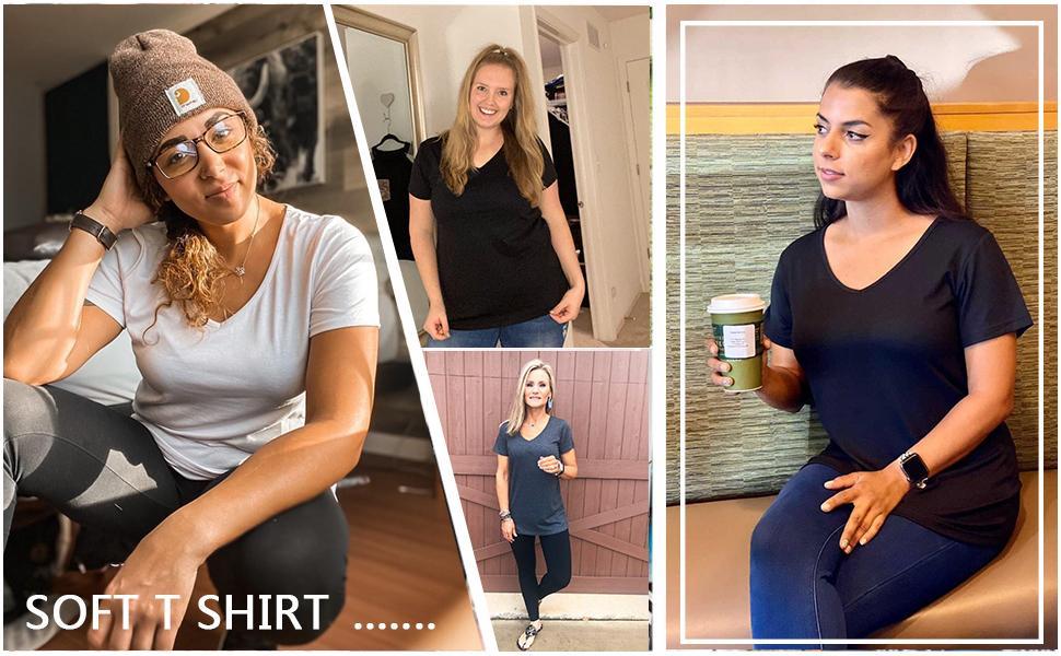 V Neck Tshirt Women Short Sleeve Summer Tops Fashion 2021