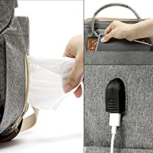 tissue pocket with zipper,big mom pocket,usb-port