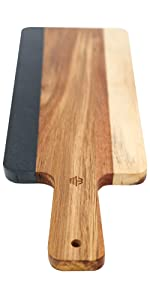 Black Slate and Acacia Wood Cheese Board with Handle