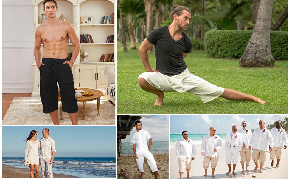 men's linen pants linen trousers men mans beach pants men's baggy pants mens cotton capri pants