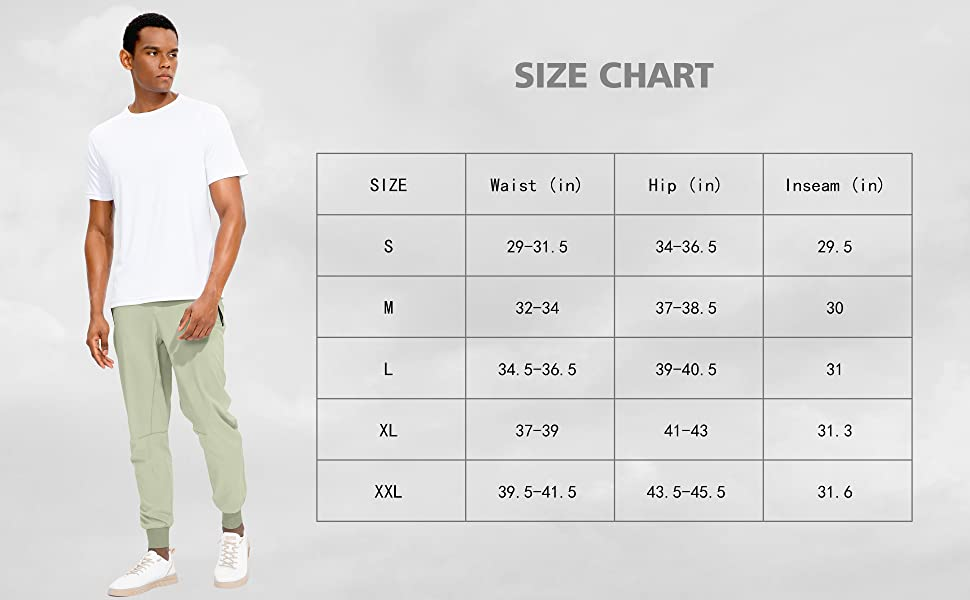 mens jogger pants for size chart