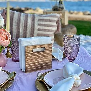 Upright Napkin Holder on a table - beach setting