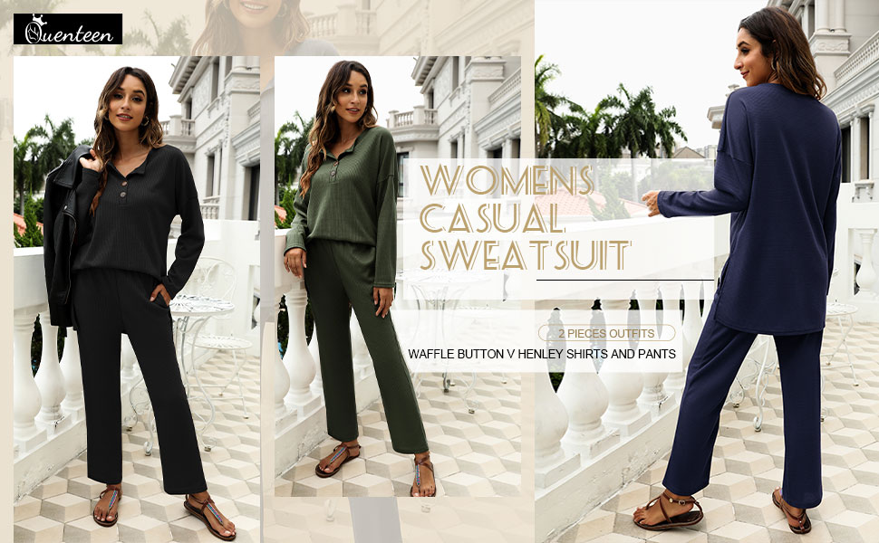 oversize lounge wear sets two pieces outfits waffle knit henley shirts with pants