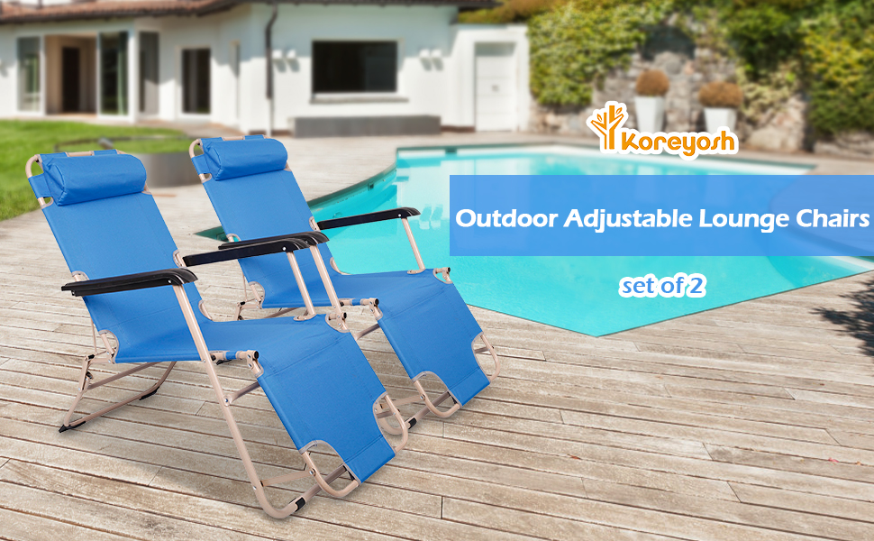 Lounge Chair Folding Recliner with a Removable/Adjustable Pillow