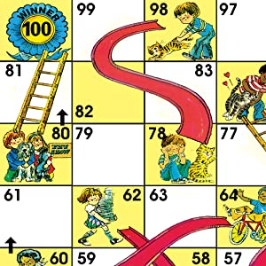 Classic Chutes & Ladders Zoomed in Gameboard