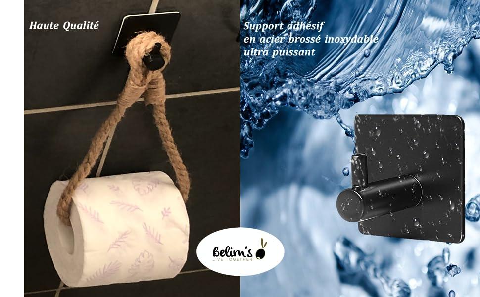 derouler papier toilette auto-adhesif mural sans perçage distributeur pq support papier wc corde wc